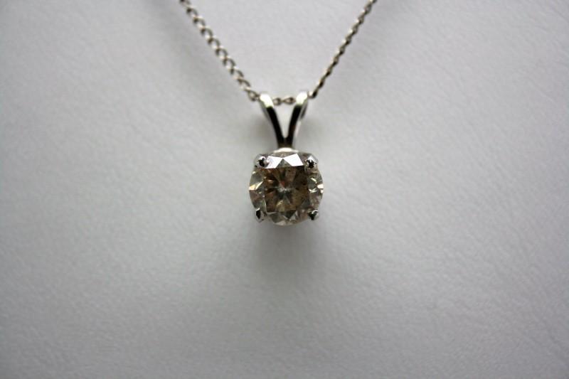 SOLITAIRE DIAMOND PENDANT 18K WHITE GOLD