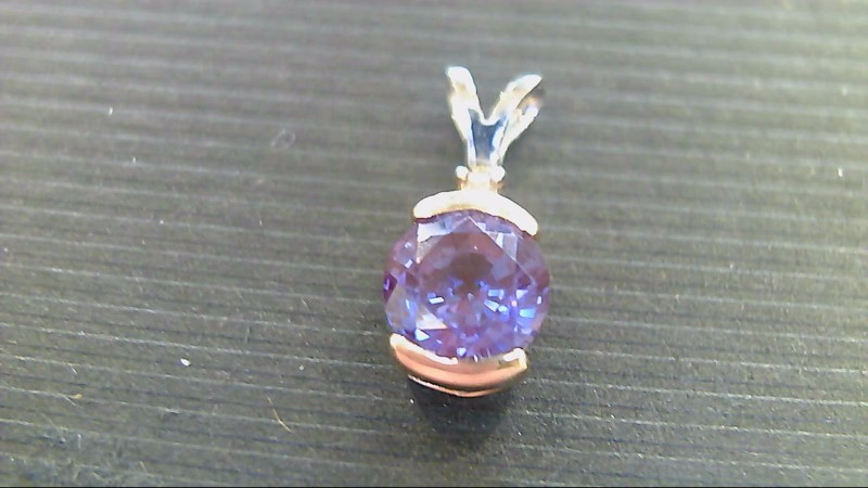 Synthetic Alexandrite Gold-Diamond & Stone Pendant .005 CT. 14K 2 Tone Gold
