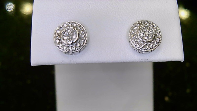 Lady's sterling silver 925 round diamond cluster earrings