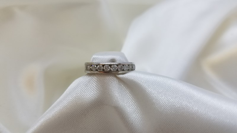 Lady's Diamond Channel Anniversary Ring 11 Diamonds .55 C.T.W. 14K White Gold