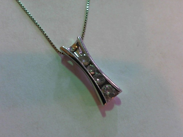 Diamond Necklace 4 Diamonds .27 Carat T.W. 14K White Gold 2.3g