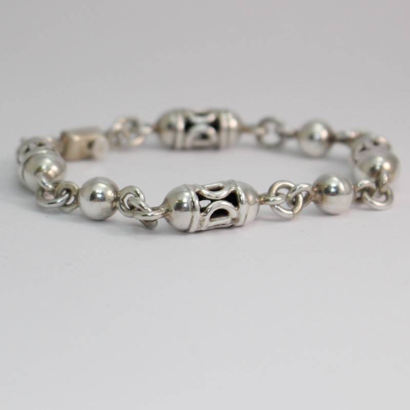"8"" Sterling Silver SIGNED Mexico MVC Unique Lantern Chain Bracelet"