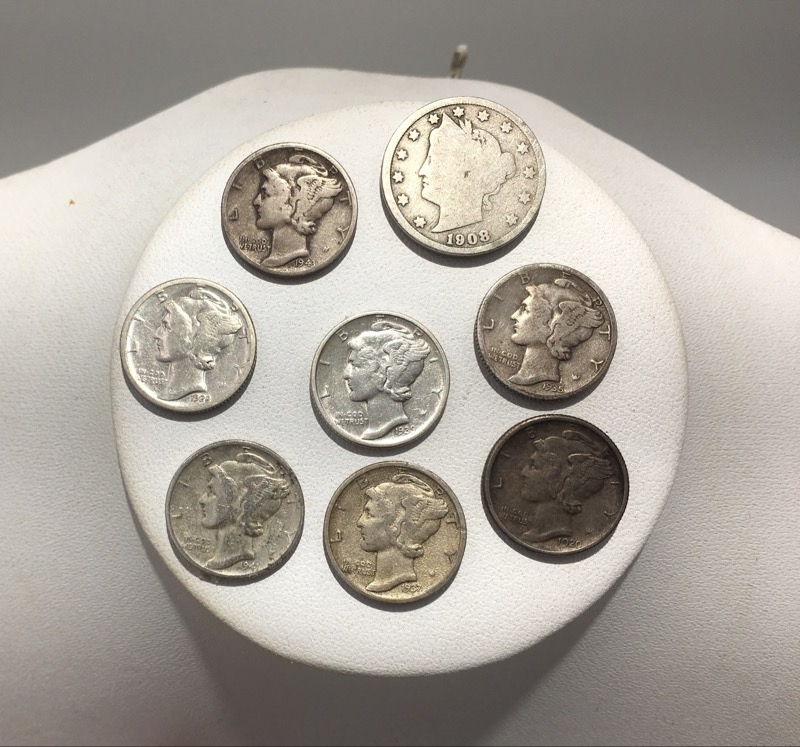 U.S. 90% Silver Mercury Dimes Lot of 7 - With Bonus V Nickel
