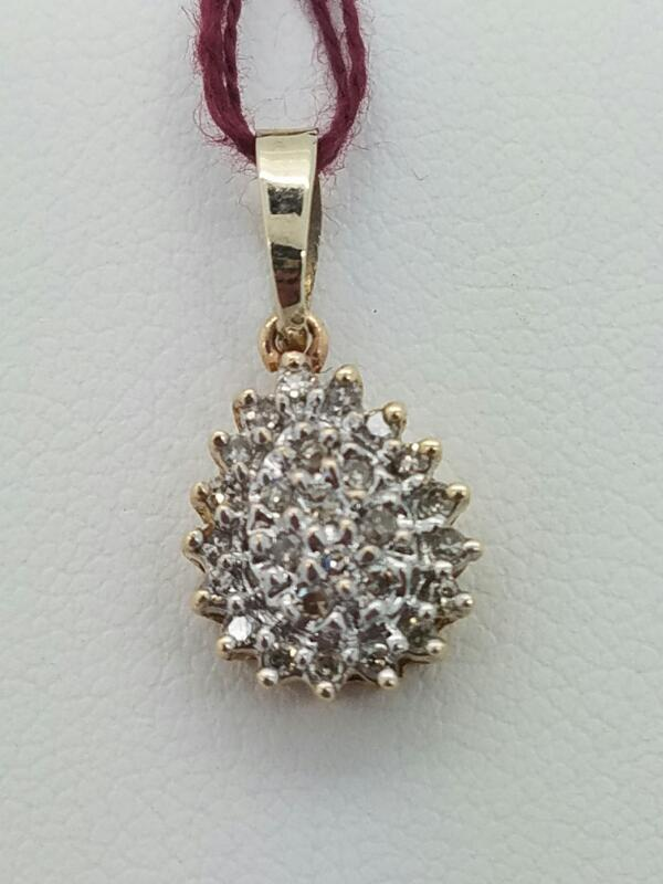 PENDANT 14K PENDANT 14KT DIAMOND 14K YG, PEAR,DIA, CLUS .8_DWT/YG