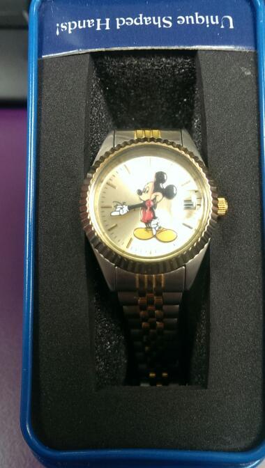 Disney Mickey Mouse Men's 'Moving Hands' Gold & Silver Bracelet