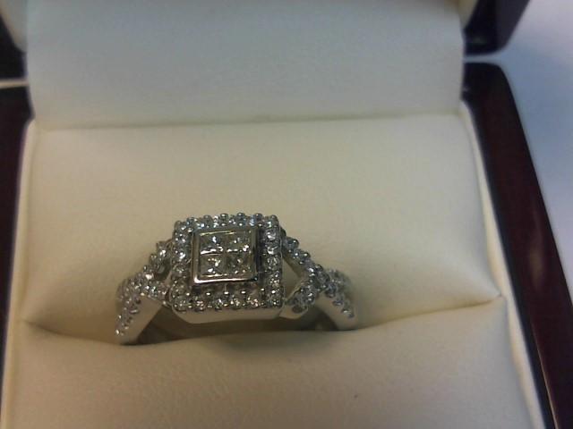 Lady's Diamond Engagement Ring 52 Diamonds .68 Carat T.W. 14K White Gold 3dwt
