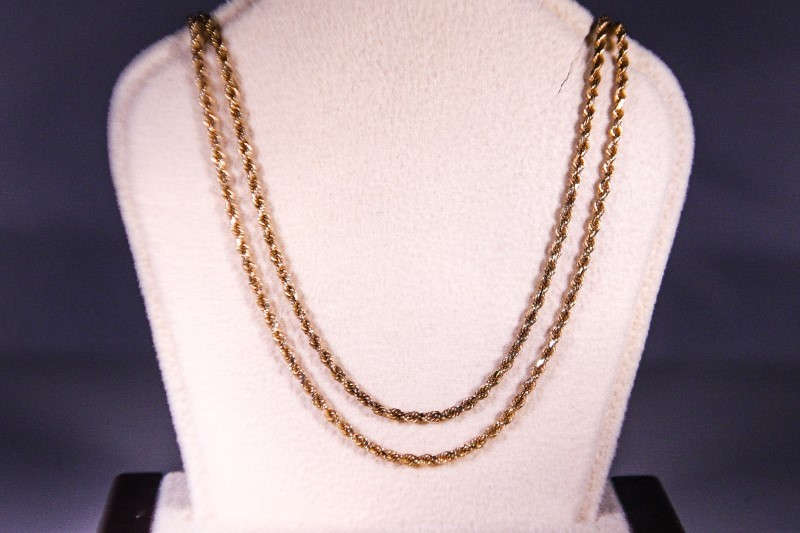 """36"""" Gold Rope Chain 14K Yellow Gold 7.9g"""