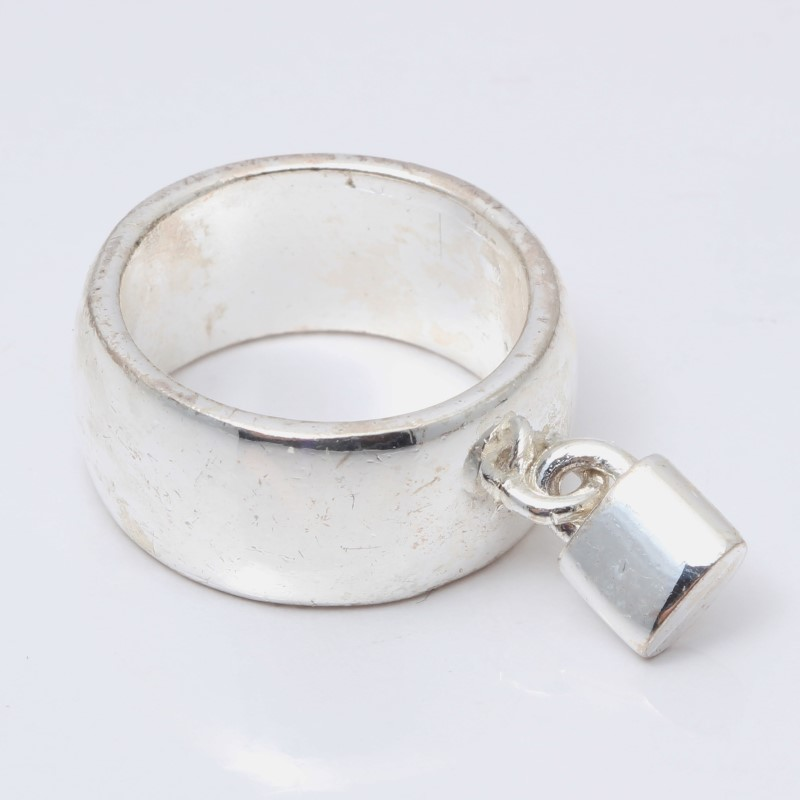 Sterling Silver Thick Matte Band With Lock Ring Size 7.25