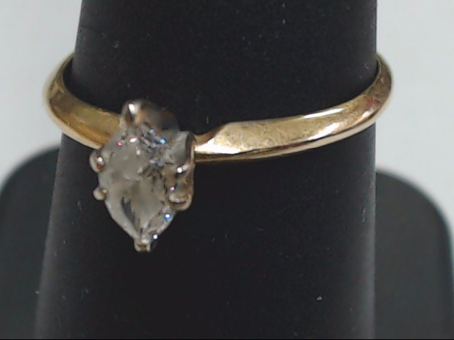 Lady's Diamond Solitaire Ring .30 CT. 14K Yellow Gold 1.6g Size:7.5