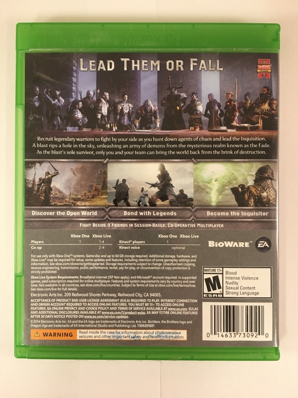 MICROSOFT Microsoft XBOX One Game DRAGON AGE INQUISITION
