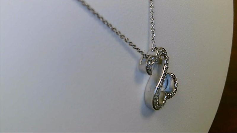 "18"" open hearts Diamond Necklace 1/5cttw 925 Silver 4g"