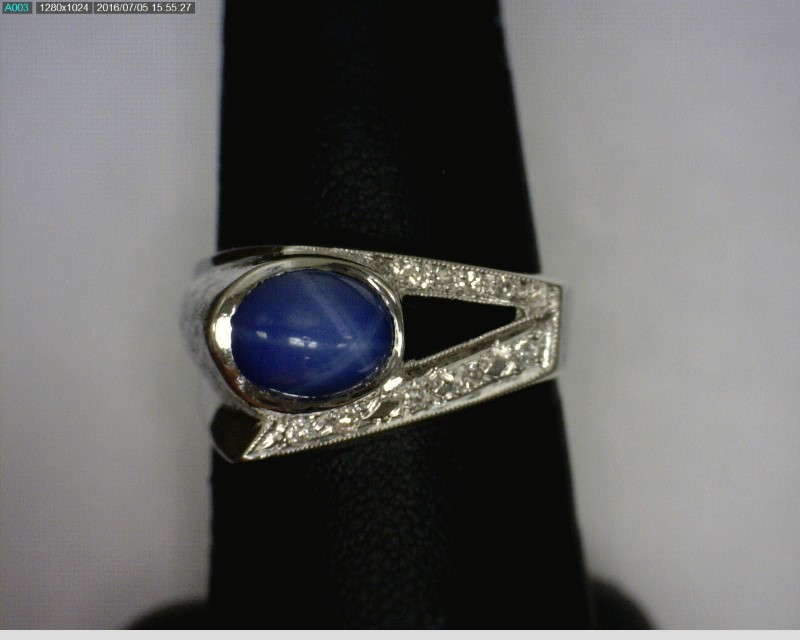 Star Sapphire Gent's Stone & Diamond Ring 10 Diamonds .10 Carat T.W.