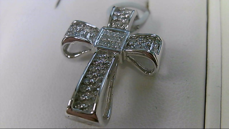 1/2 CTTW Diamond 14K White Gold Cross Pendant