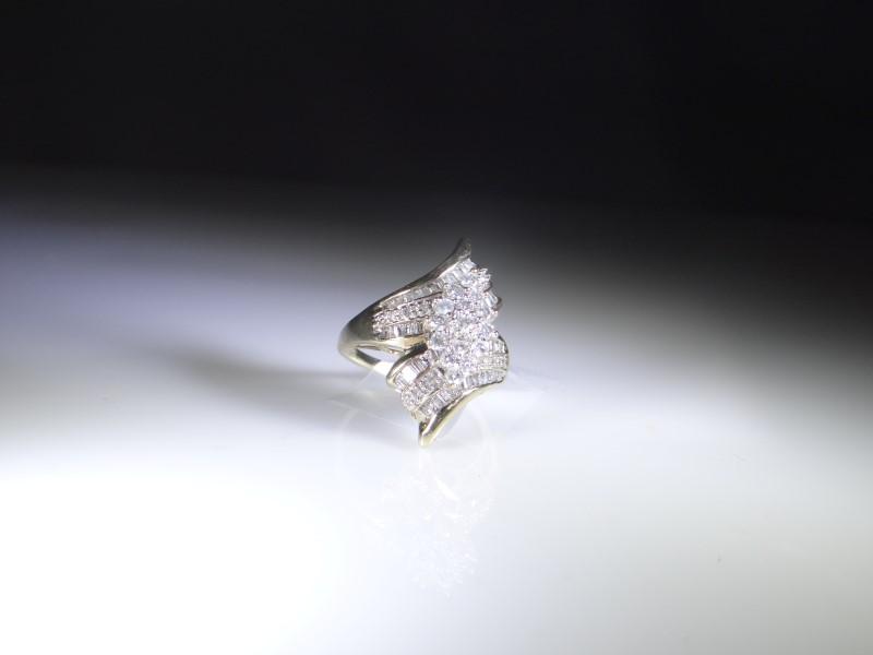Lady's Diamond Cluster Ring 63 Diamonds .93 Carat T.W. 14K Yellow Gold 5.6g