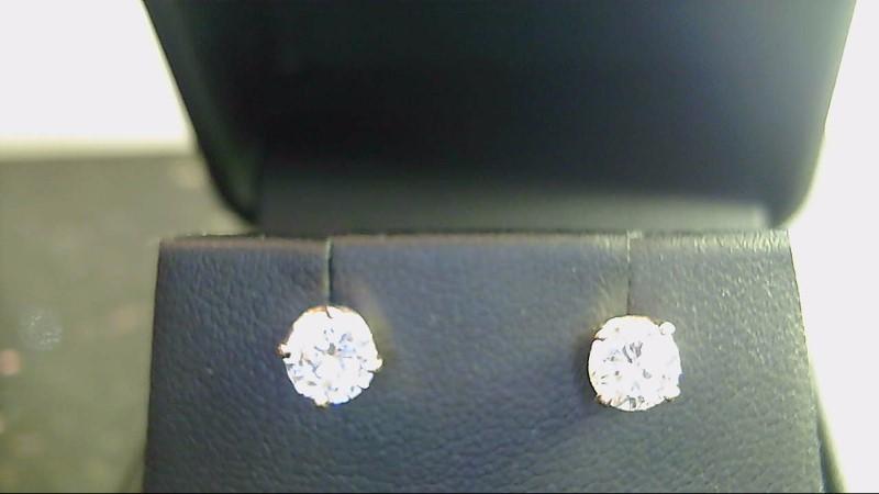 lady's 14k yellow gold round diamond earrings