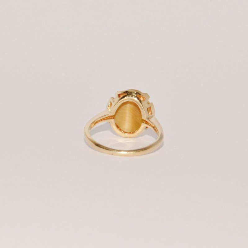 Cats Eye Crysoberyl Lady's Stone Ring 10K Yellow Gold 2.8g