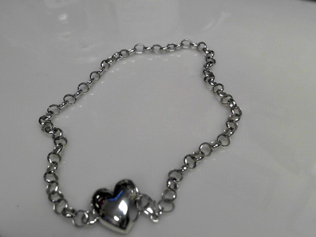 "10"" Sterling Silver Bracelet 925 Silver 13.79g with Heart"