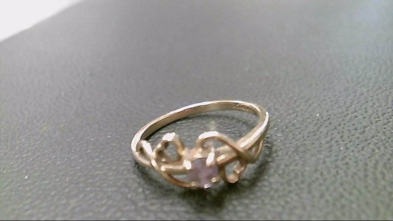 Purple Stone Lady's Stone Ring 10K Yellow Gold 1.7g