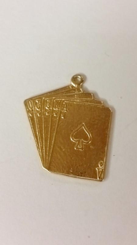 14K Yellow Gold Royal Flush Poker Hand Playing Cards Flat Dangle Charm Pendant