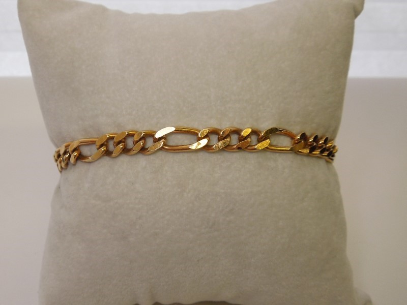 Gold Figaro Bracelet 14K Yellow Gold 12.9g