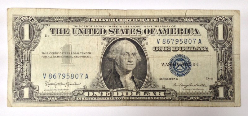 UNITED STATES $1.00 1957B BLUE SEAL SILVER CERTIFICATE