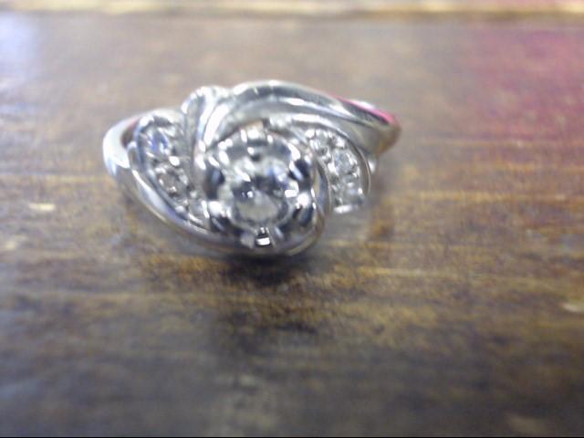 Lady's Diamond Engagement Ring 5 Diamonds .28 Carat T.W. 14K White Gold 2.7g
