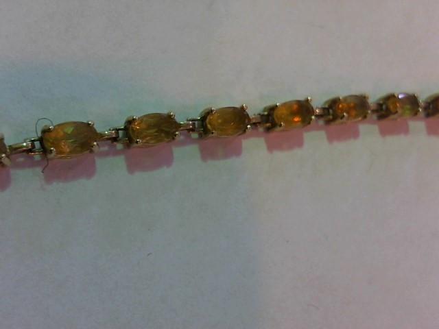 Orange Stone Gold-Stone Bracelet 10K Yellow Gold 4.6g