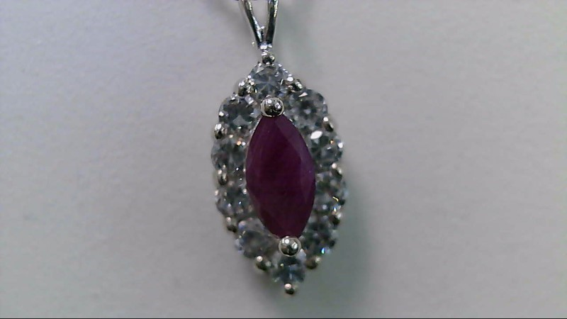July Birthstone Marquise Ruby and CZ Silver Pendant 925