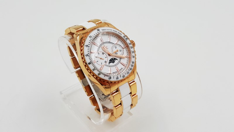 AS- IS GC By Guess Lady's Rose Gold Toned & Ceramic Watch
