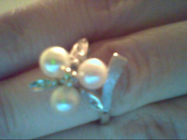 Synthetic Pearl Lady's Stone & Diamond Ring 6 Diamonds .035 Carat T.W.