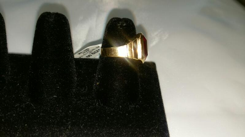 Red Stone Lady's Stone Ring 10K Yellow Gold 4.7g Size:10.5