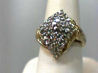 Lady's Diamond Cluster Ring 50 Diamonds 1.00 Carat T.W. 14K Yellow Gold 4.1dwt