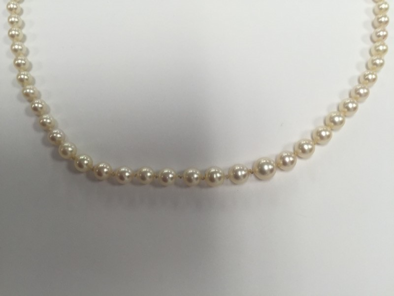 """GRADUATED PEARL NECKLACE 4 MM-7.5MM 22"""""""