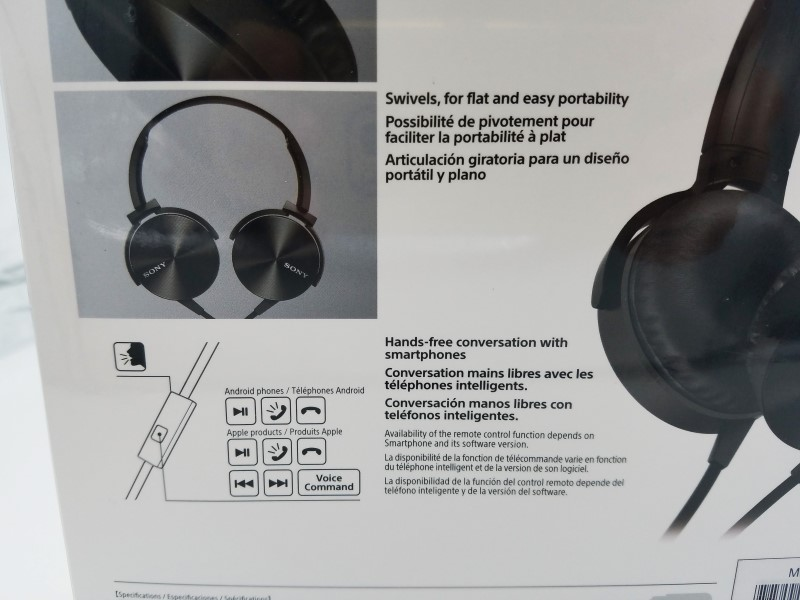 ROSANA-Sony Headphones Extra Bass Stereo Headphones Black MDR-XB450AP