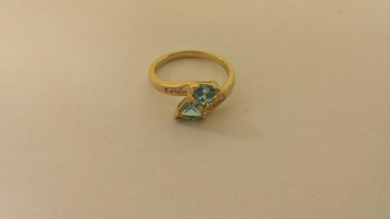 Lds 10k-Y/G Lt. Blue And Diamond Ring