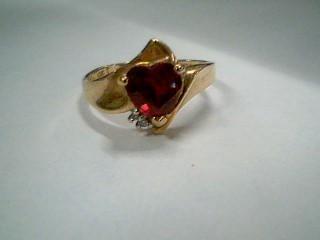 Red Stone Lady's Stone & Diamond Ring 2 Diamonds .02 Carat T.W. 10K Yellow Gold