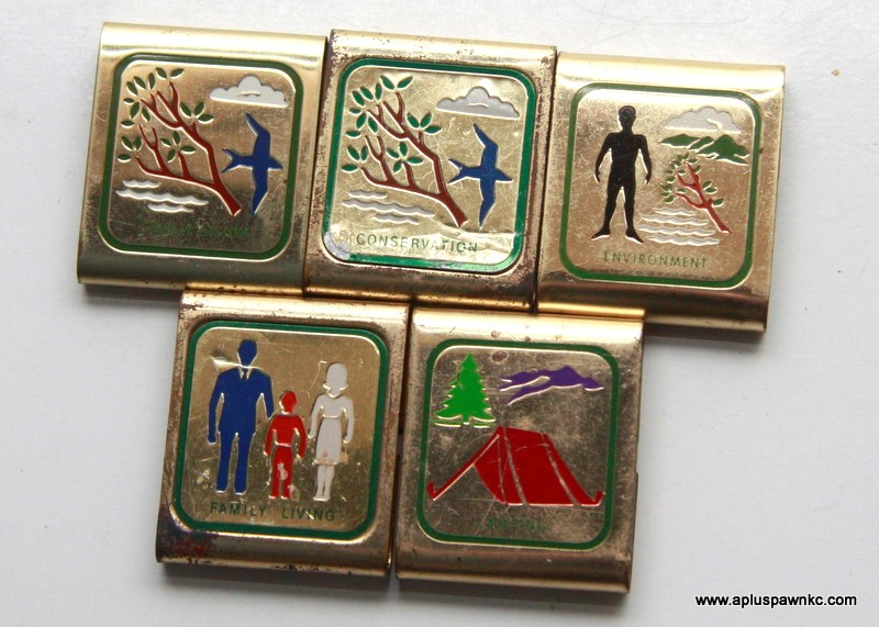 VINTAGE BSA BOY SCOUTS BELT MERIT BADGES, BRASS (QTY 5)