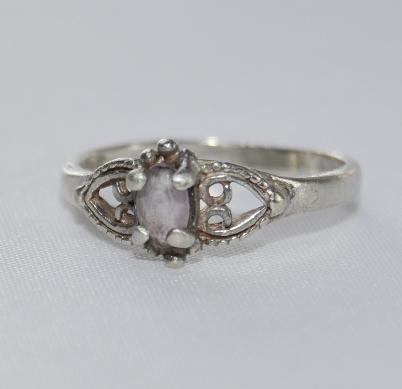 Sterling Silver Double Heart Amethyst Vintage-Inspired Ring SIZE 5