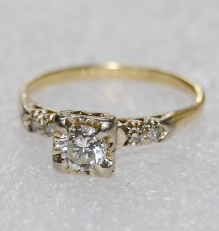 14K Two Tone Yellow & White Gold Vintage Inspired Classic Engagement Ring sz 9
