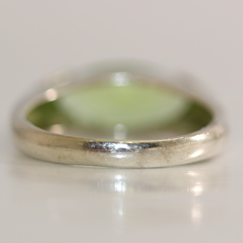 Marquise Cut Green Stone Sterling Silver Ring Size 8