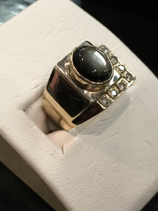 Brown Stone Gent's Stone & Diamond Ring 7 Diamonds .07 Carat T.W.