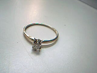Lady's Diamond Solitaire Ring .25 CT. 14K Yellow Gold 1.5g Size:10