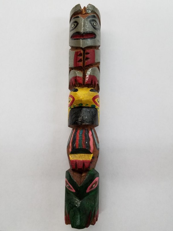 "NORTHWEST NATIVE ""HAND CARVED"" TOTEM POLE 12"""