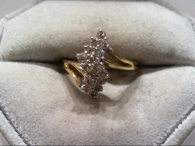 Lady's Diamond Cluster Ring 16 Diamonds .48 Carat T.W. 14K Yellow Gold 3.2g