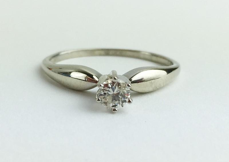 Diamond Solitaire Ring .20 CT. 14K White Gold 1.87g