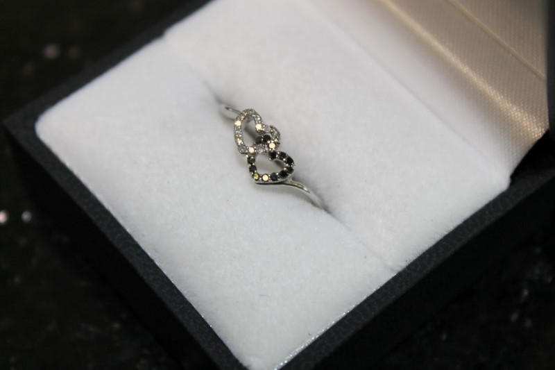 Black and White Double Heart Diamond 10K White Gold Ring