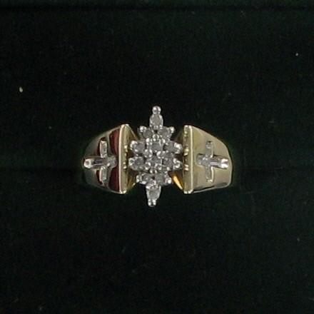 Lady's Diamond Cluster Ring 12 Diamonds .24 Carat T.W. 10K Yellow Gold 3.2dwt