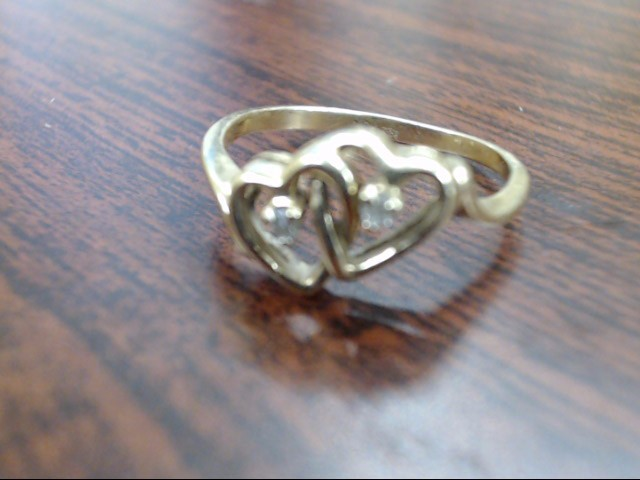 Lady's Diamond Cluster Ring 2 Diamonds .02 Carat T.W. 10K Yellow Gold 1.8g