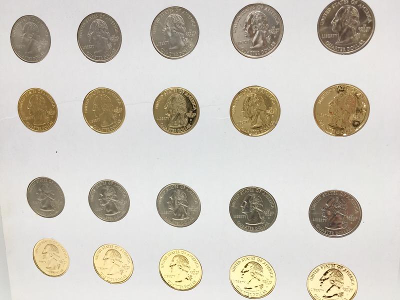 U.S. Commem. Gallery Statehood Quarters 99-04 W/ 24k Gold Plated