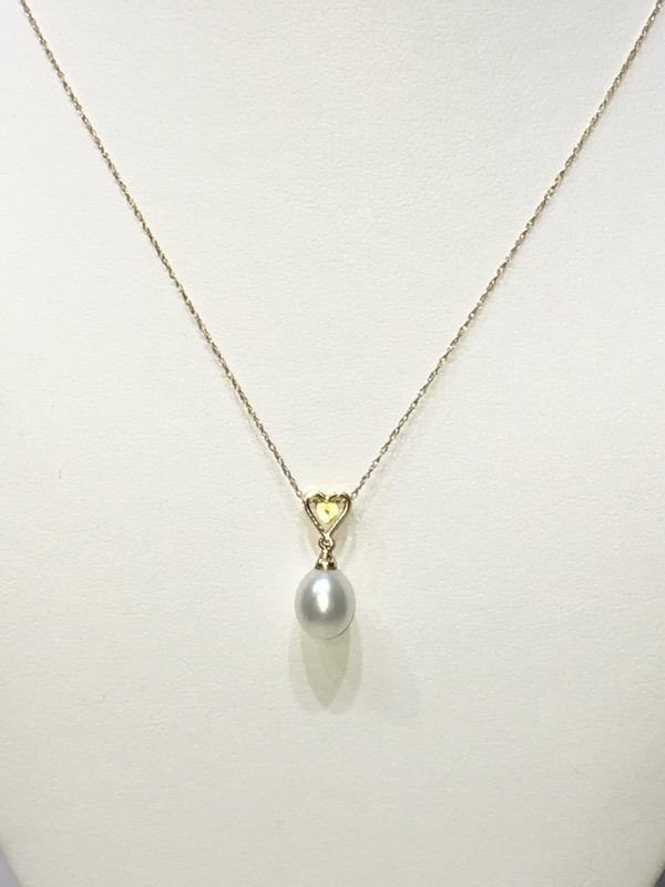 "14K Yellow Gold Diamond Heart & Pearl Drop Dangle 18"" Necklace"